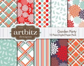 "Garden Party 10 Piece Floral Digital Scrapbooking Paper Pack, 12""x12"", 300 dpi .jpg, Instant Download!"