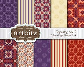 "Tapestry, Vol. 2, 10 Piece Damask Digital Scrapbooking Paper Pack, 12""x12"", 300 dpi .jpg, Instant Download!"