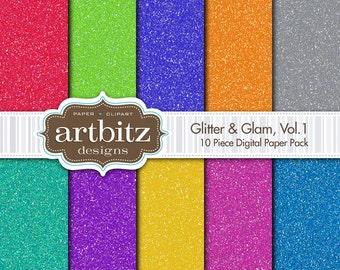 "Glitter & Glam, 10 Piece Sparkle Texture Digital Scrapbook Paper Pack, 12""x12"", 300 dpi .jpg, Instant Download!"