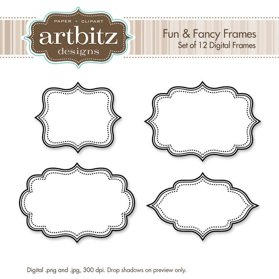 fun fancy digital frames set of 12 no 20001 clip art kit