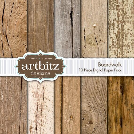 "Boardwalk, Vol. 1 10 Piece Wood Texture Digital Scrapbooking Paper Pack, 12""x12"", 300 dpi .jpg, Instant Download!"