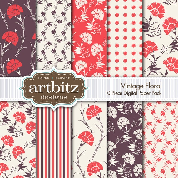 """Vintage Floral 10 Piece Digital Scrapbooking Paper Pack, 12""""x12"""", 300 dpi .jpg, Instant Download!"""