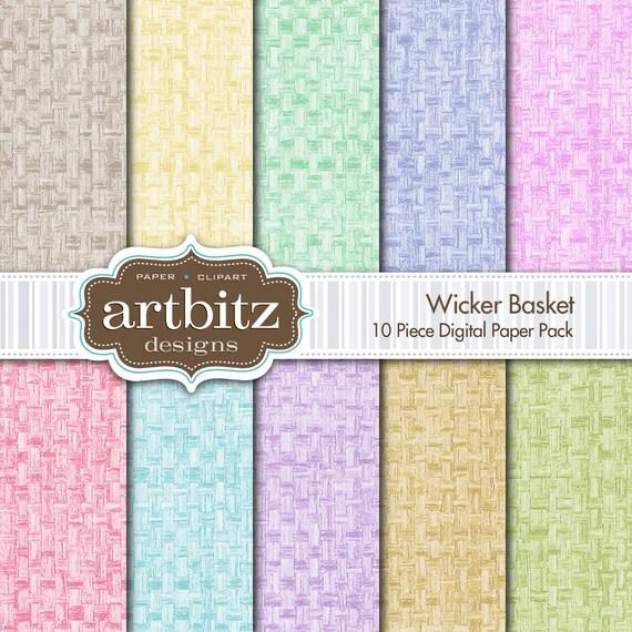 "Wicker Basket 10 Piece Digital Scrapbook Paper Pack, 12""x12"", 300 dpi .jpg, Instant Download!"
