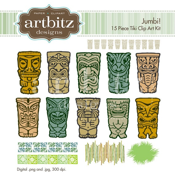 Jumbi No. 05001 Tiki 15 Piece Clip Art Kit, 300 dpi .jpg and .png