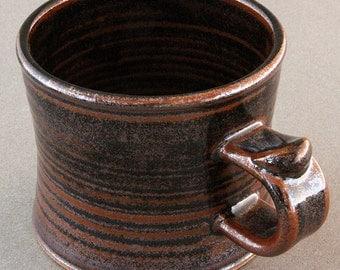 Stoneware MUG -- Black TENMOKU Glaze