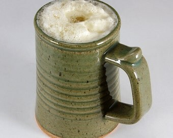 Pint TANKARD with GREEN CELADON Glaze