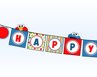 Sesame Street Happy Birthday Banner- Elmo Happy Birthday Banner - Cookie Monster Happy Birthday Banner - Birthday Party Printable