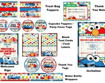 Sesame Street Party Package - Elmo Party Package - Cookie Monster Party Package - Primary Colors - Polka Dot Party Printable