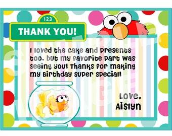 Elmo Thank You Note - Sesame Street Thank You Note - Elmo and Dorothy Thank You Note - Birthday Party Printable - Girl Theme, goldfish