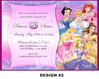 Disney Princess Birthday Invitation - Rapunzel Tangled Belle Cinderella Ariel Snow White Aurora Jasmine Tiana - Printable- 3 designs - Photo