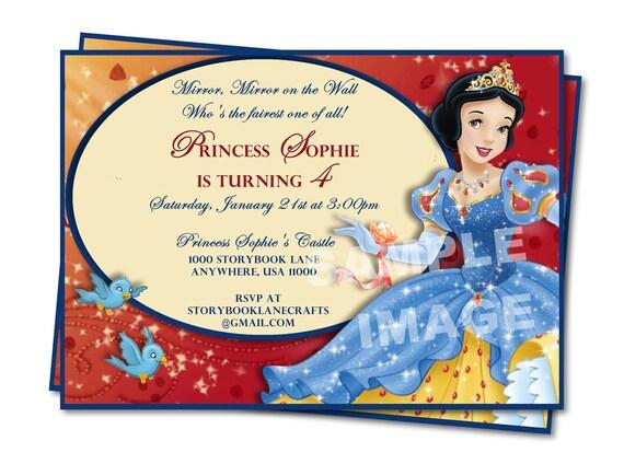 Disney Snow White Birthday Invitation - Party Printable Birthday Invitation