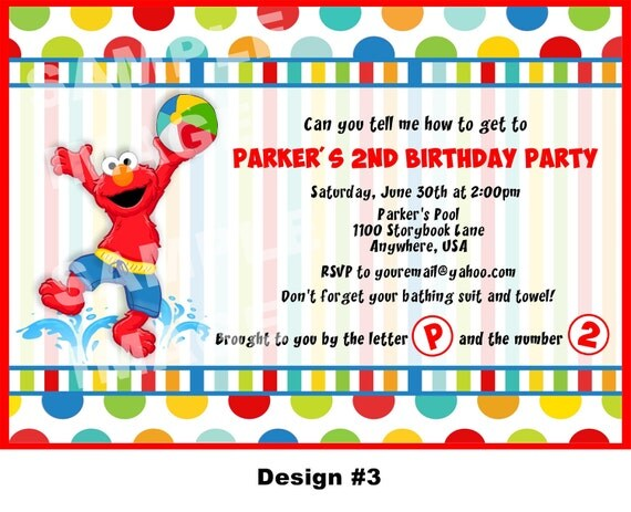 Sesame Street Invitation - Elmo Invitation - Elmo Birthday Invitation - Party Printable Invitation - Photo Option -- 4 Designs