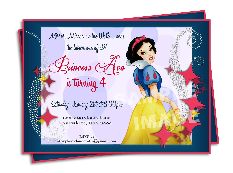 Snow white birthday invitations gangcraft snow white invitation disney princess by storybooklanecrafts birthday invitations stopboris Images