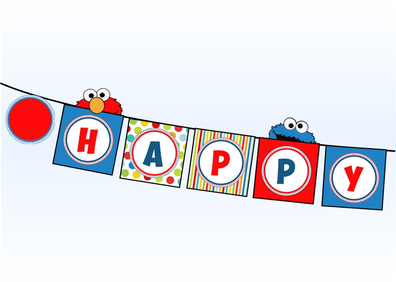 Sesame Street Happy Birthday Banner Elmo Happy Birthday