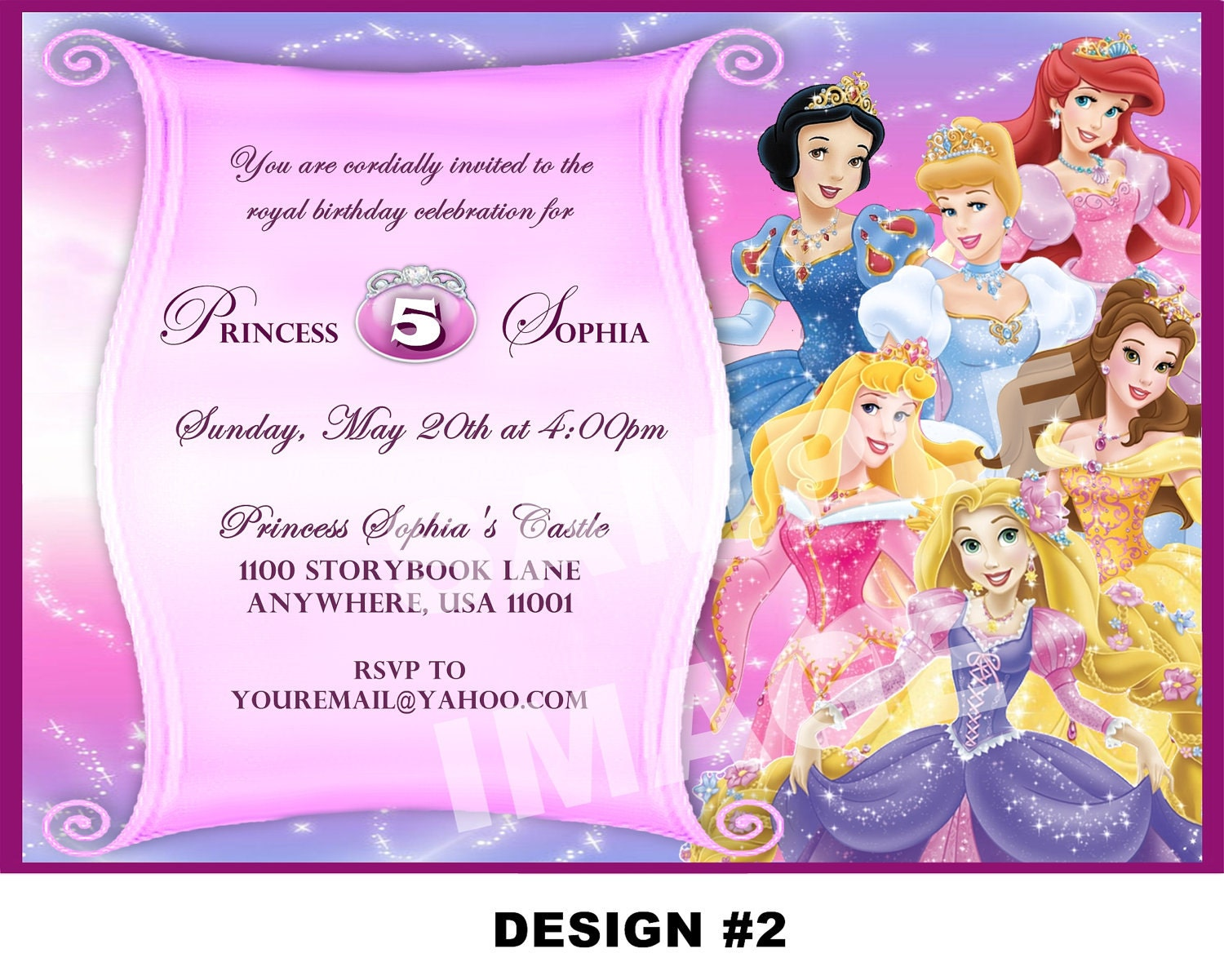 Disney Princess Birthday Invitation Rapunzel Tangled Belle