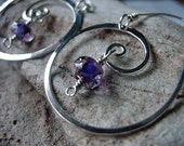 Handmade Silver  earrings, Silver Spiral hoops with lamp-work beads. Purple glass beads
