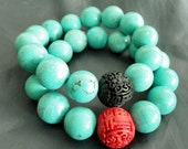 turquoise and red bracelet - cinnabar - black and turquoise - stackable bracelet - stretch bracelet - adjustable bracelet