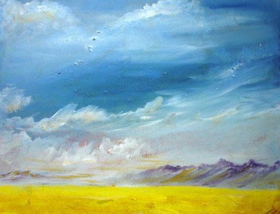 Acrylic painting of a big sky with clouds moving in over the mountains. Original hand painted art.