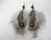 Fluffy Marabou Turkey feather earrings w/ tiger's eye beads - natural