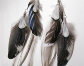OOAK Iridescent Designer Mallard & Rooster Wing / Pheasant / Emu Plumage feather earrings w/ silver chains - blue, black, white, natural