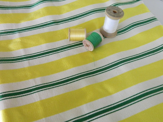 Yellow, Green and Cream Stripe Vintage Upholstery Fabric