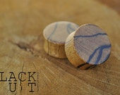 "Black and White Ebony (Tiger Ebony) Organic Ear Plugs 7/8"" (22.2mm) Custom Handmade Hand Carved Wood Body Jewelry Piercing Earrings"