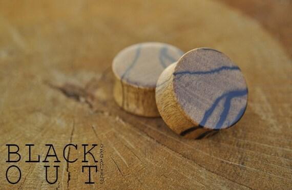 "Black and White Ebony (Tiger Ebony) Organic Ear Plugs 9/16"" (14.3mm) Custom Handmade Hand Carved Wood Body Jewelry Piercing Earrings"