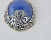 blue agate silver pendant  jewelry making materials. REF-671,statement necklaces