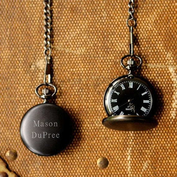 Father's Day - Personalized Midnight Pocket Watch - Groomsmen Gift or Father's Day
