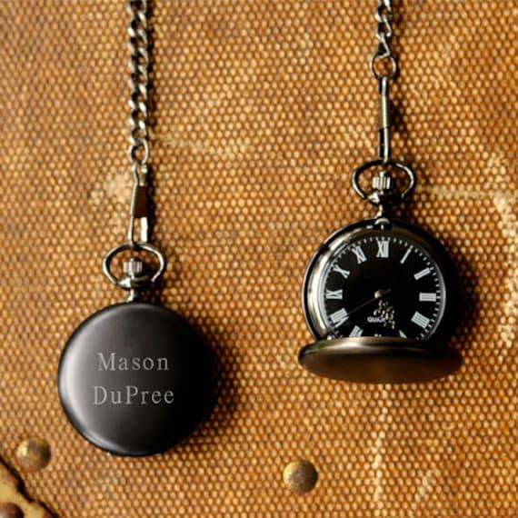 10, Groomsmen Gift, Personalized Midnight Pocket Watch, Engraved Gift for Groomsmen, Best Man Gift