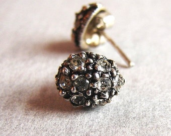 Vintage Sterling Silver Rock Like Rhinestone Stud Earrings, Very Edgy And Unique.