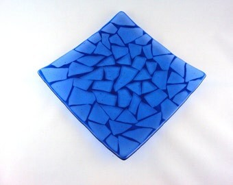 Square Blue Glass Mosaic Plate