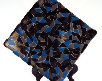 Large Square Black and Irid Glass Mosaic Plate
