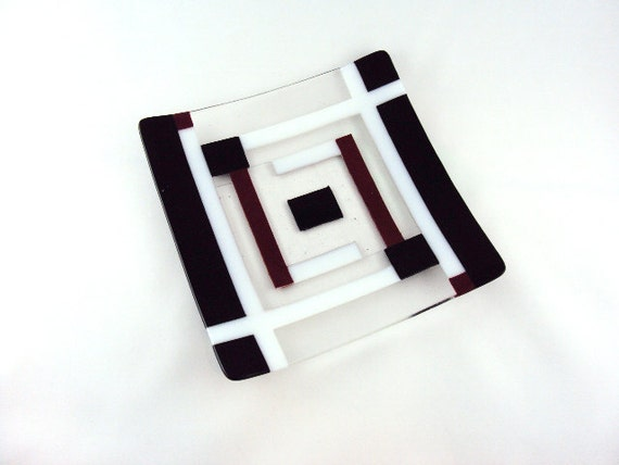 Square Black, White, Red, and Clear Glass Plate