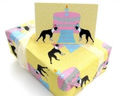Boston Terrier Birthday Fabric Gift Wrap and Card Set