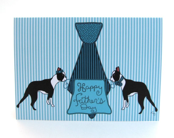 Father's Day Boston Terrier Card