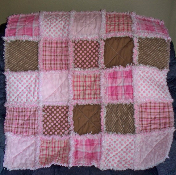 """Baby Rag Quilt Pink and Brown 40"""" x 33"""" Flannel Backing"""