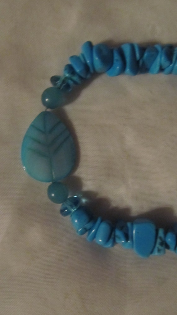 TURQUOISE mother of pearl LEAF bracelet 7 1/2 to 10 1/4 inch