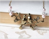 Love birds necklace, two birds on a branch brass choker necklace, bridesmaid gift, spring summer fashion