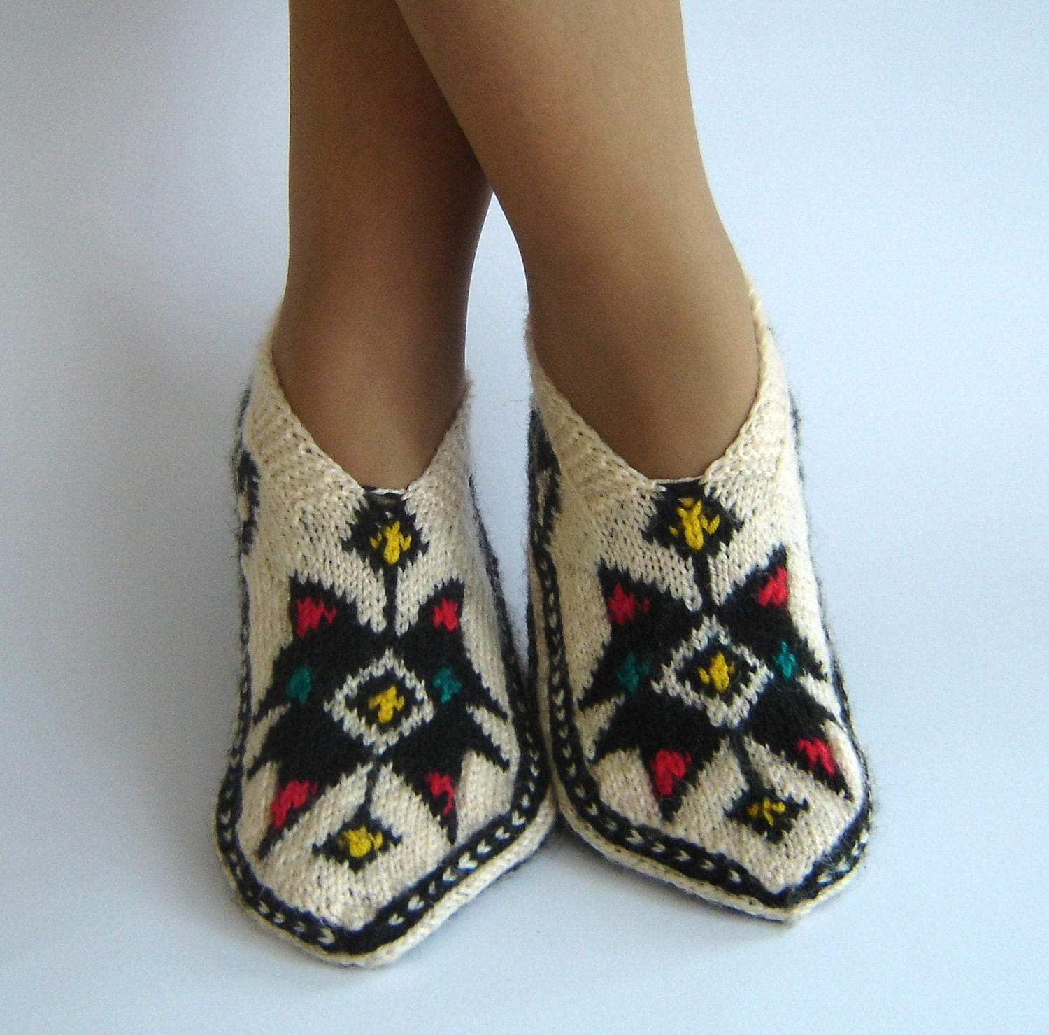 Knitting Pattern For Turkish Slippers : Traditional Turkish Handknitted Slippers 100% Wool