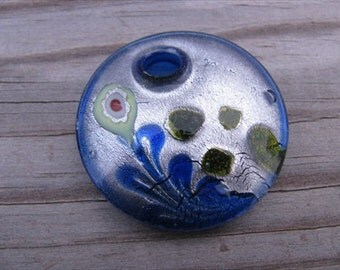 Murano Glass Circle Pendant- Blue