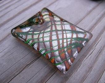 Murano Glass Rectangle Pendant- Golden, Silver, and Green Drizzle