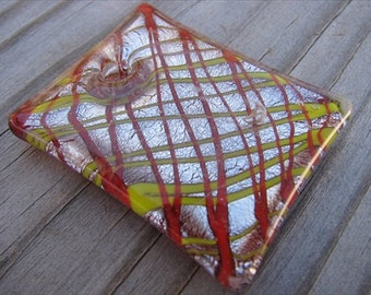 Murano Glass Rectangle Pendant- Red, Yellow, Silver