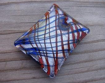 Murano Glass Rectangle Pendant- Blue, Red, Silver