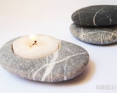 feng shui home decor - hand engraved beach stone candle holder - zen style