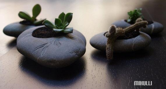 zen garden planter - hand made of beach pebble