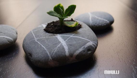 zen garden pottery - beach stone flower planter - pebble home decor