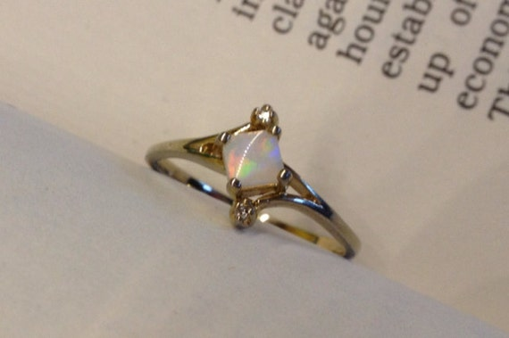 Vintage Opal with Diamond Accents Gold Sterling Silver Ring Size 6