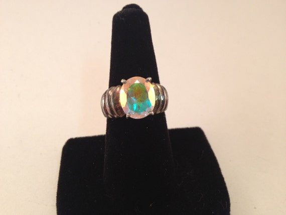 Vintage Mystic Topaz Stone Ring in Sterling Silver Size 7