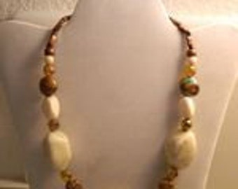 Big Bold Chunky Necklace... shades of Neutrals and Bronze